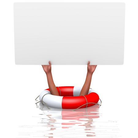 rescued: Blank card in drowning hands, concept of helping Stock Photo