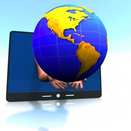 continente americano: Globe, continente americano y la almohadilla, concepto internacional de comunicaci�n. Foto de archivo