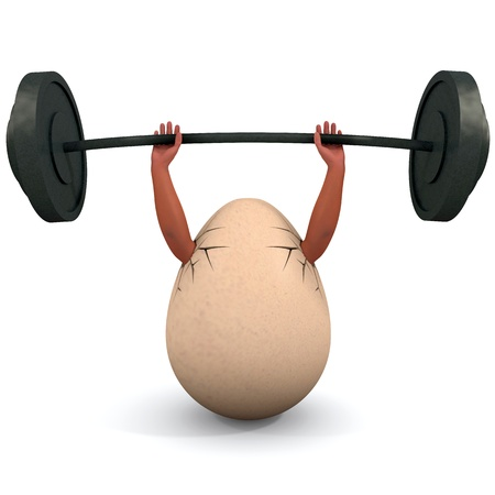 Egg holds a dumbbell. Illustration on body building and health subjects. Stock Photo