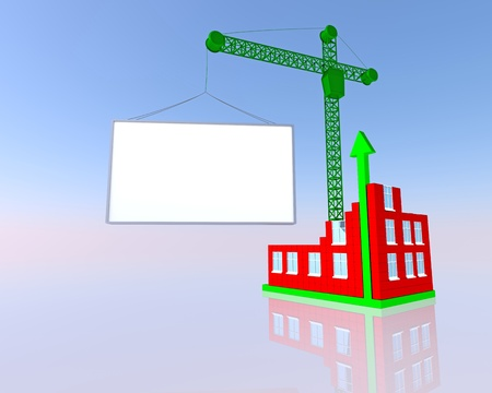 Arrowed building and blank billboard on the sky background photo