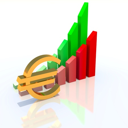 Business chart and dollar sign, abstract business illustration illustration