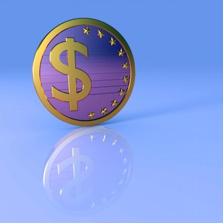 Dollar sign, abstract business illustration. Blue background. illustration