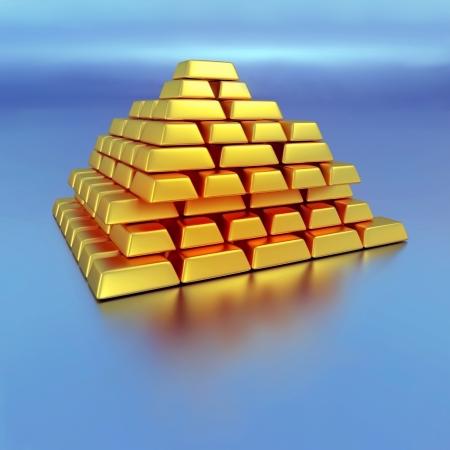 Gold bricks  Abstract business concept, 3d illustration illustration