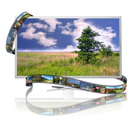 Frames of film on the display with image of landscape Stock Photo - 20672068