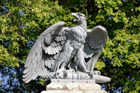 teutonic: Granite sculpture of eagle, Tallinn, Estonia Stock Photo