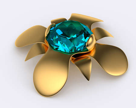 golden brooch with blue diamond, 3d illustration illustration