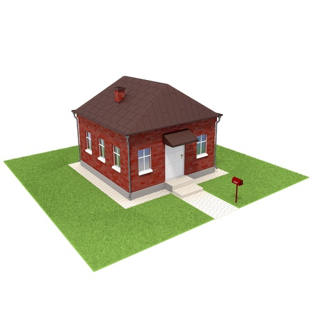 grassfield: Brick house on the grassfield. Isolated on a white background