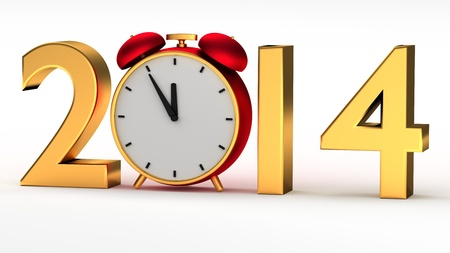 New year 2014 with red clock photo