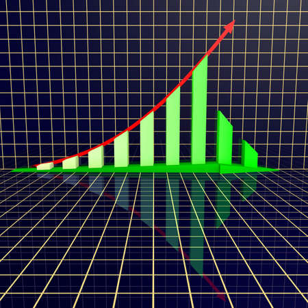 Arrowed business chart over grid photo