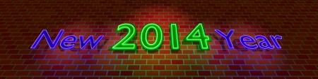 New Year 2014 - neon light on the brick wall  photo