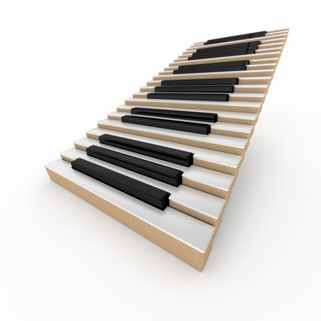 piano closeup: Piano stairway on the white background