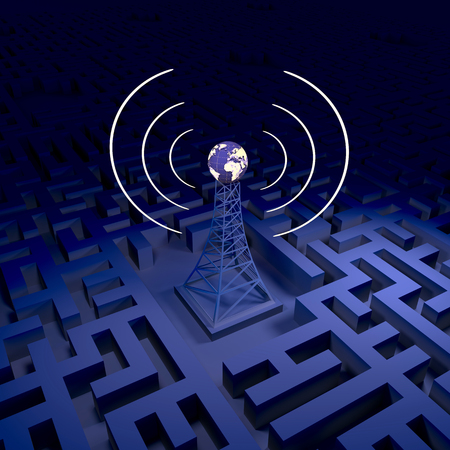 Abstract wireless background, network station