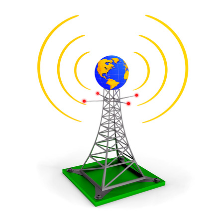 wireless tower: Abstract illustration - wireless tower with earth globe Stock Photo