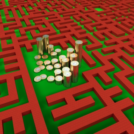 Coins money in the labyrinth, 3d illustration illustration