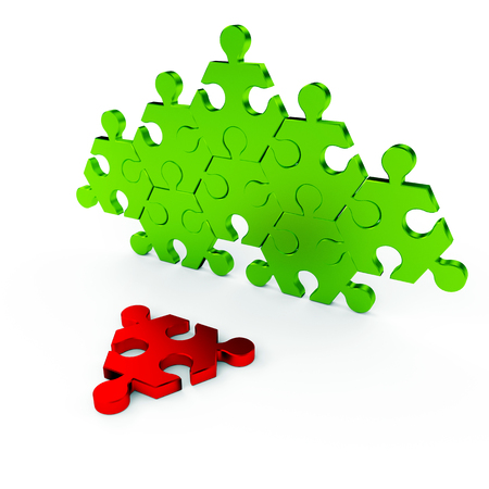 Green and red puzzle on a white background photo