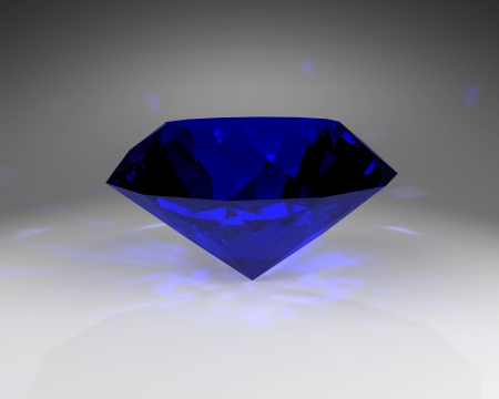 Blue gem stone, abstract illustration.