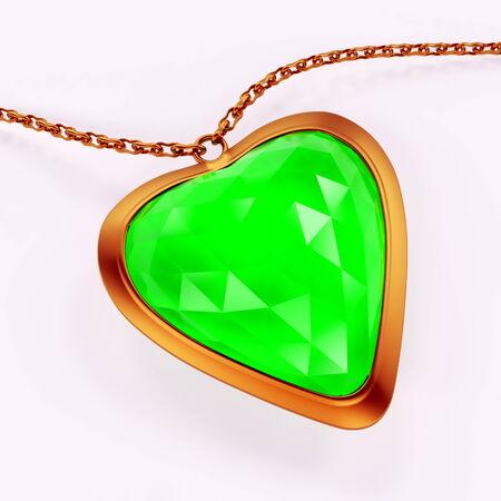 Emerald gem stone jewellry over white