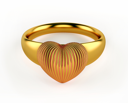 Gold Heart and wedding rings isolated on white background Stock Photo