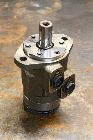 Hydraulic pump motor, close up photo photo