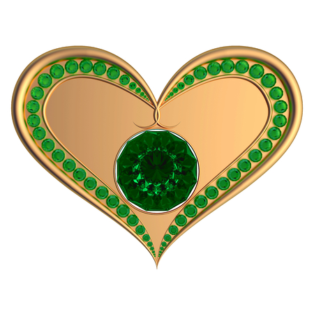 asscher cut: Emerald heart jewelry isolated on the white background
