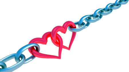 Chains with red heart isolated on white background photo