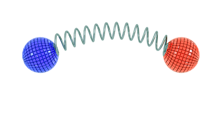 spring spiral with red and blue balls photo