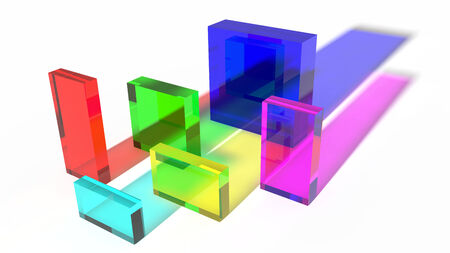 colored glass cubes