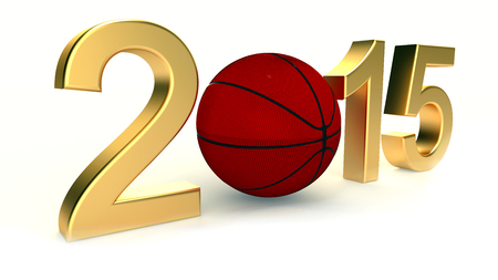 Basketball 2015 year on a White Background