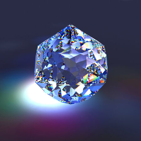 Diamond in dark background, three dimensional illustration