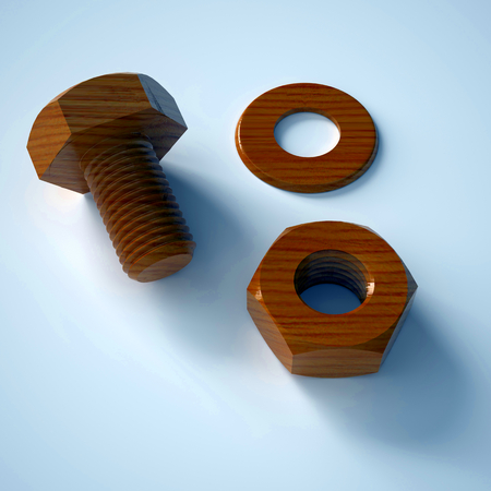 disassemble: Background of the wooden bolt, nut and washers Stock Photo