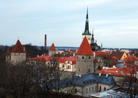 Landscape of the Old Tallinn aka Vana Tallinn, Estonia