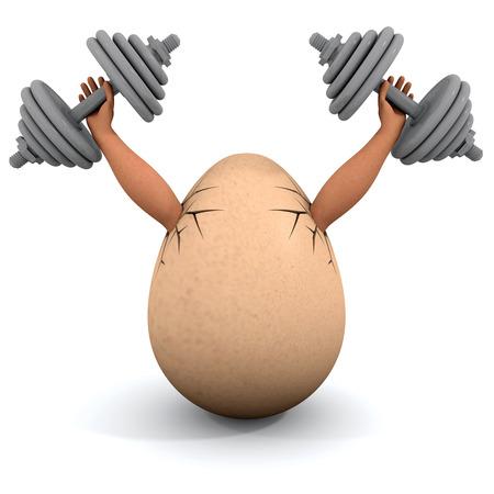 Egg holds a dumbbells. Illustration on the white background