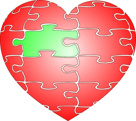heart puzzle: Jigsaw puzzle red heart of love with green element