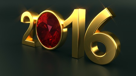 ruby gemstone: New year 2016 illustration with ruby gemstone