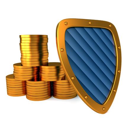 shield with dollar sign, excellent 3d illustration Banco de Imagens