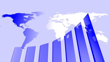 Growth chart and earth map, 3d illustration Stock Photo