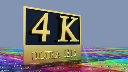 Ultra HD 4K icon on the color background