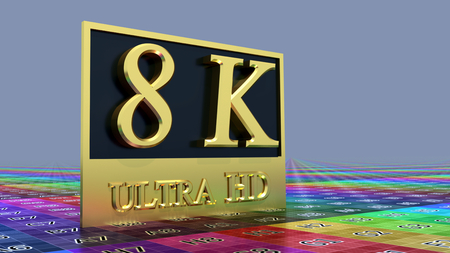 Ultra HD 8K icon on the color background