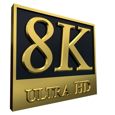 hdtv: Ultra HD 8K icon isolated on white background, 3d illustration
