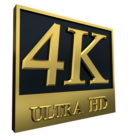 hdtv: Ultra HD 4K icon isolated on white background, 3d illustration