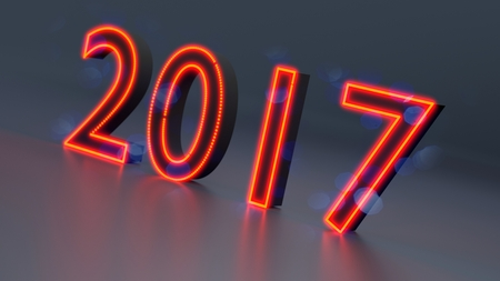 New Year 2017 abstract background, 3d illustration Stock Photo