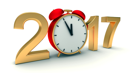 New year 2017 3d-illustration with red clock