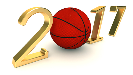 Basketball 2017 year on a White Background, 3d-illustration.