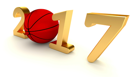 Basketball 2017 year isolated on a White Background, 3d-illustration.