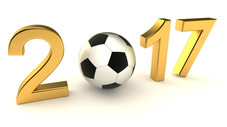 Year 2017 soccer ball on the white background, 3d-illustration Stock Photo