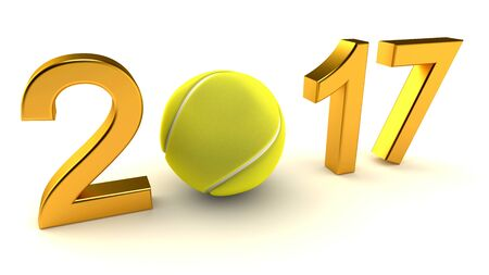 Tennis ball and 2017 year on a White Background, 3d-illustration