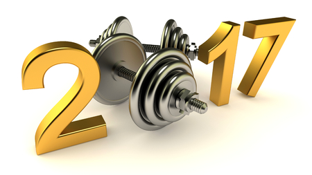 Dumbells and 2017 year on a White Background, 3d-illustration Stock Photo