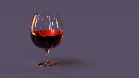 Red wine in glass, background. 3D Illustration. Stock Photo