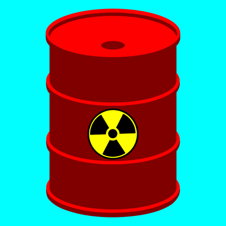 Vector illustration of red metal barrel with nuclear waste