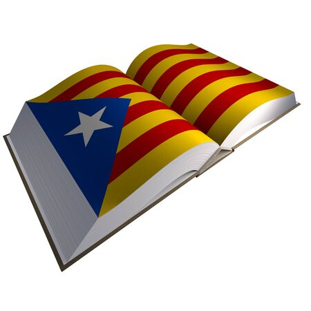 Book with Catalonian flag, 3d illustration. Stock Photo